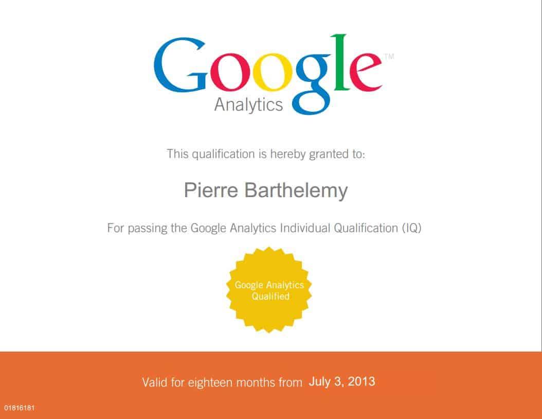 Certifié GAIQ Google Analytics