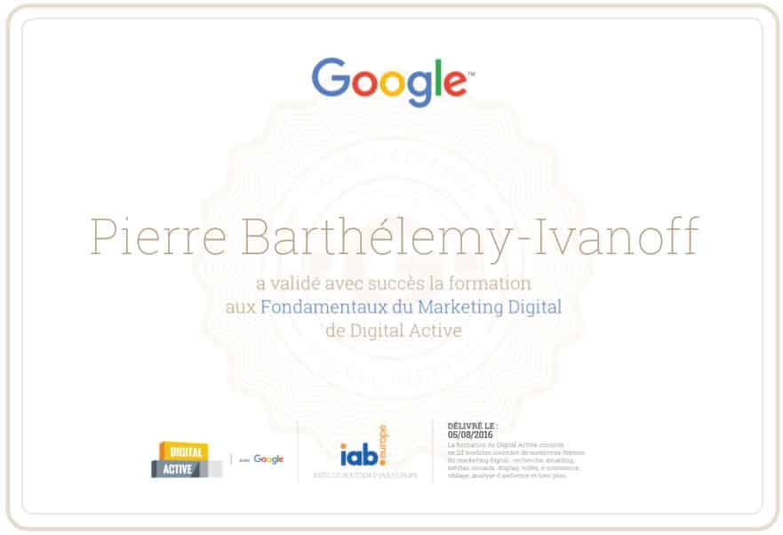 avis sur la certification digital active de google      pierre barthelemy