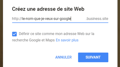 Google My Business - Nom de Domaine